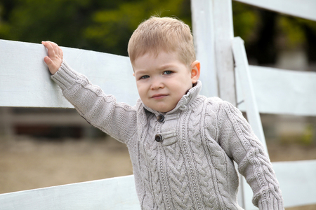 picket: 2 years old Baby boy on the a white picket fence beside the horse