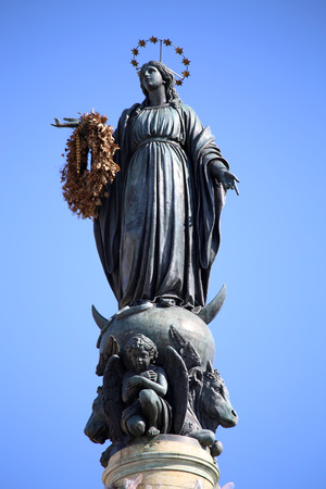 immaculate: Column of the Immaculate Conception monument with Virgin Mary on top at Piazza di Spagna in Rome, Italy