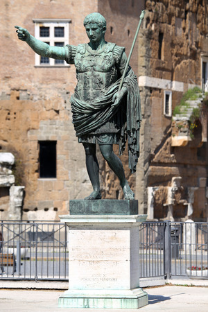 imp: Statue S.P.Q.R. IMP CAESAR Augustus PATRIAE PATER on street Via dei Fori Imperiali, Rome, Italy