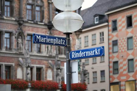 bayern old town: Marienplatz and Rindermarkt  street and square name on the Marienplatz in Munich, German