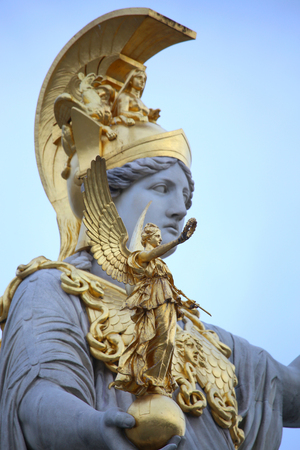 Statue of Pallas Athena in front of the Austrian Parliament in Vienna Reklamní fotografie - 46585614