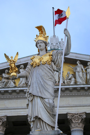 pallas: The Austrian Parliament and statue of Pallas Athena in Vienna, Austria