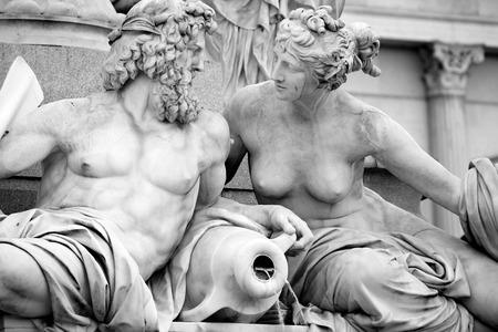 fountain: Pallas-Athena-Brunnen Fountain in front of the Austrian Parliament in Vienna, Austria