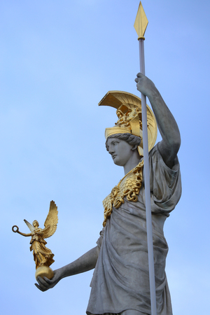 athene: Statue of Pallas Athena in front of the Austrian Parliament in Vienna