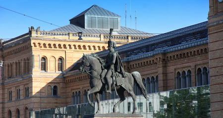 august: Statue Of Ernest Augustus I in Hannover central station, Germany Editorial