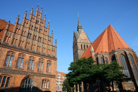 old town hall: Market Church and Old Town Hall in Hannover, Germany
