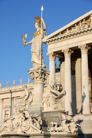 pallas: The Austrian Parliament and statue of Pallas Athena in Vienna, Austria