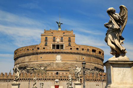 angelo: details of Castel Sant Angelo in Rome, Italy