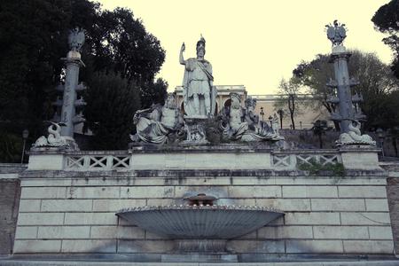 dea: Fountain of  Dea di Roma with Tiber and Aniene, Piazza del Popolo in Roma, Italy Stock Photo