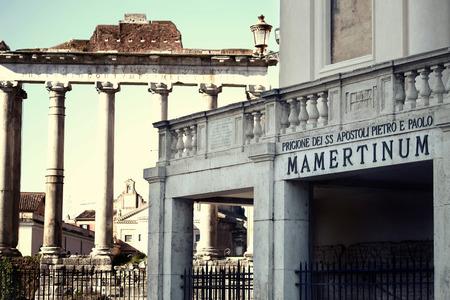 Prisión Mamertina antigua en Roma, Italia