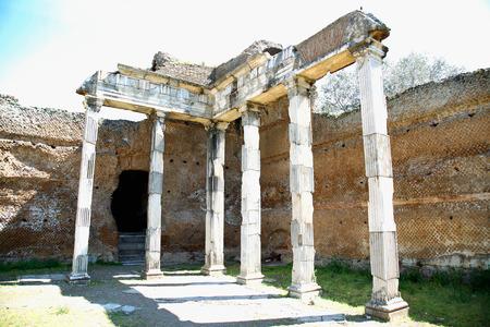 doric: Ancient ruins of Villa Adriana ( The Hadrians Villa ), Building With Doric Pillars, ( Pilastri dorici ) Tivoli, Italy
