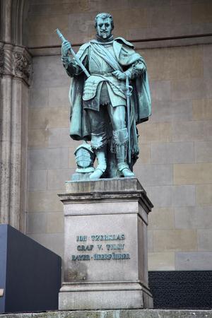 graf: Statue of Graf V Tilly at the Odeonsplatz - Feldherrnhalle in Munich Germany Editorial