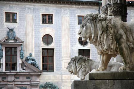 residenz: details of a stone lion sculpture at the Odeonsplatz - Feldherrnhalle in Munich Germany