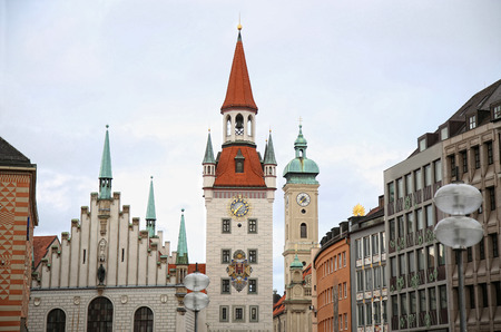 rathaus: Old Town Hall (Altes Rathaus) building at Marienplatz in Munich, Germany Stock Photo
