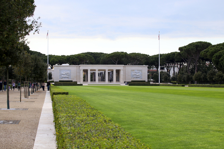 historic world event: NETTUNO - April 06: Building of the American Military Cemetery of Nettuno in Italy, April 06, 2015 in Nettuno, Italy.
