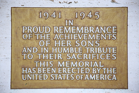 historic world event: NETTUNO - April 06: Plaque in the Chapel of the American Military Cemetery of Nettuno in Italy, April 06, 2015 in Nettuno, Italy. Editorial
