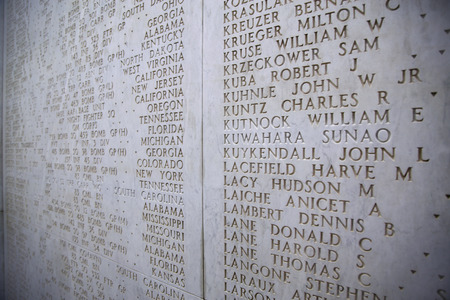 historic world event: NETTUNO - April 06: The Names of fallen soldiers at war, American war cemetery of the American Military Cemetery of Nettuno in Italy, April 06, 2015 in Nettuno, Italy. Editorial