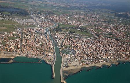 aerial view of the Tyrrhenian coastline and Fiumicino town, near Roma, Lazio, Italy