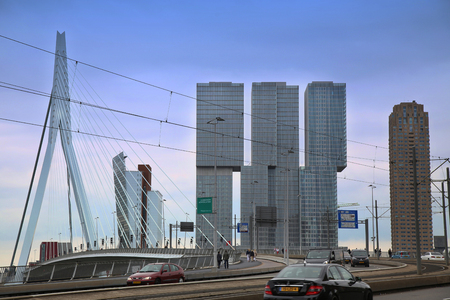 maas: ROTTERDAM, THE NETHERLANDS - 18 AUGUST: Rotterdam is a city modern architecture, view on Erasmus Bridge and skyline of Rotterdam, river Maas in Rotterdam, Netherlands on August 18,2015.