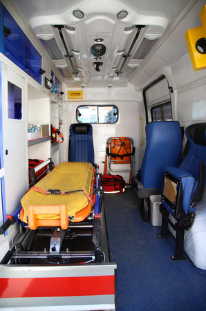 inside car: Details of the inside part of the medical equipment in vans ambulance Stock Photo