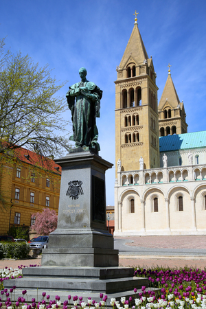 pecs: Statue of Ignac Szepesy and Basilica of St. Peter & St. Paul, Pecs Cathedral in Hungary