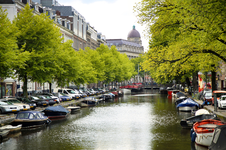 beetwen: AMSTERDAM; THE NETHERLANDS - AUGUST 18; 2015: View on Leidseplein, beetwen Zieseniskade street and Lijnbaansgracht street from bridge Spiegelgracht. Amsterdam is capital of the Netherlands on August 18; 2015. Editorial