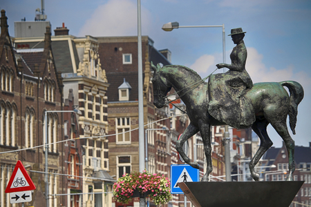 wilhelmina: The equestrian statue of Queen Wilhelmina in Amsterdam Stock Photo