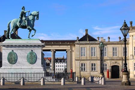 frederik: Sculpture of Frederik V on Horseback in Amalienborg Square in Copenhagen, Denmark