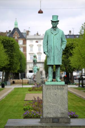 Statue of Carl Frederik Tietgen in Toldbodgade street, Copenhagen, Denmark Editorial