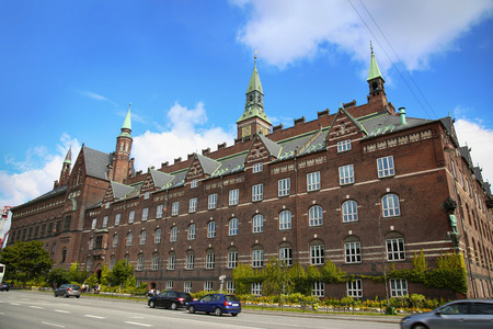 View of Radhus, Copenhagen city hall from H.C. Andersens Boulevard in Copenhagen, Denmark