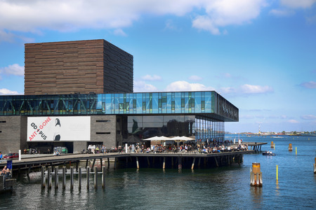 playhouse: COPENHAGEN, DENMARK - AUGUST 15, 2016: The Royal Danish Playhouse (Skuespilhuset) is a National Theater on the harbour, building designed by Lundgaard Tranberg in Copenhagen, Denmark on August 15, 2016.