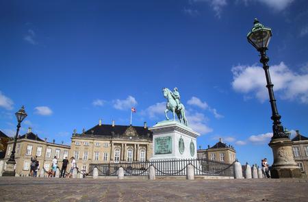 frederik: COPENHAGEN, DENMARK - AUGUST 15, 2016: Sculpture of Frederik V on Horseback in Amalienborg Square, its home of the Danish Royal family in Copenhagen, Denmark on August 15, 2016.