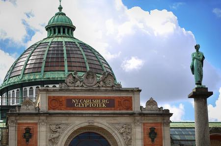 COPENHAGEN, DENMARK - AUGUST 14, 2016:  Art museum in Copenhagen Ny Carlsberg Glyptotek building and column. The art museum was inaugurated in 1906. in Copenhagen, Denmark on August 14, 2016. Editorial