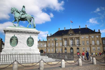 frederik: Copenhagen, Denmark – August  15, 2016: Sculpture of Frederik V on Horseback in Amalienborg Square, its home of the Danish Royal family in Copenhagen, Denmark