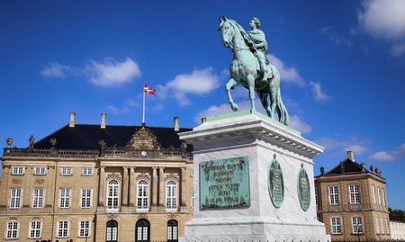 Sculpture of Frederik V on Horseback in Amalienborg Square in Copenhagen, Denmark