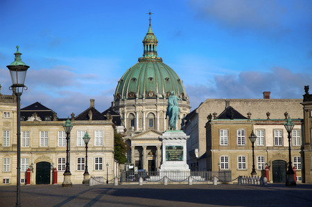 frederik: Frederiks Church (Danish: Frederiks Kirke) and Sculpture of Frederik V on Horseback in Amalienborg Square in Copenhagen, Denmark
