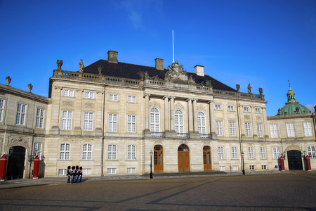 frederik: Danish Royal Life Guards on the central plaza of Amalienborg palace in Copenhagen, Denmark