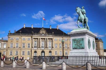 frederik: Copenhagen, Denmark – August  15, 2016: Sculpture of Frederik V on Horseback in Amalienborg Square, its home of the Danish Royal family in Copenhagen, Denmark on August 15, 2016.