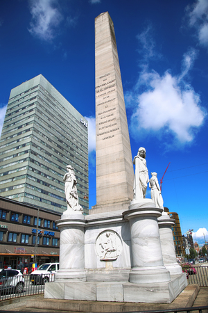 16: COPENHAGEN, DENMARK - AUGUST 16, 2016: The Liberty Memorial is placed on Vesterbrogade, and was erected in 1779. year in Copenhagen, Denmark on August 16, 2016. Editorial