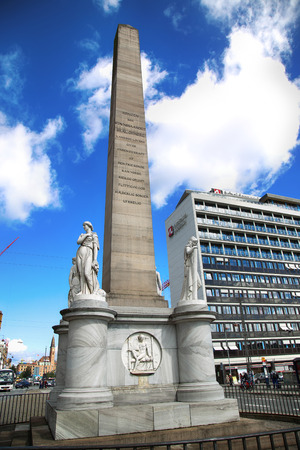 erected: COPENHAGEN, DENMARK - AUGUST 16, 2016: The Liberty Memorial is placed on Vesterbrogade, and was erected in 1779. year in Copenhagen, Denmark on August 16, 2016. Editorial