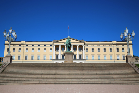 king palace: The Royal Palace and statue of King Karl Johan XIV in Oslo, Norway Editorial