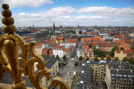 danish: Panoramic view of Copenhagen from church Vor Frelsers Kirke in Copenhagen, Denmark Stock Photo