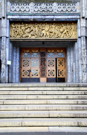 Main entrance of the Oslo City Hall in Oslo, Norway
