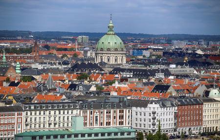 frederik: Panoramic view of Frederiks Church from church Vor Frelsers Kirke in Copenhagen, Denmark