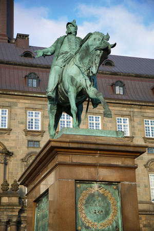 frederik: The equestrian statue of King Frederik VII in front of the Christiansborg Palace in Copenhagen, Denmark