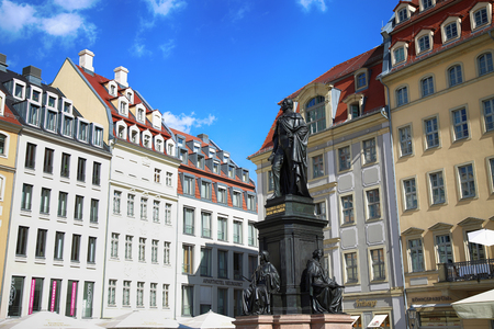 DRESDEN, GERMANY – AUGUST 13, 2016: Monument of Friedrich August King of Saxony at Neumarkt in Dresden, State of Saxony, Germany on August 13, 2016. Editorial