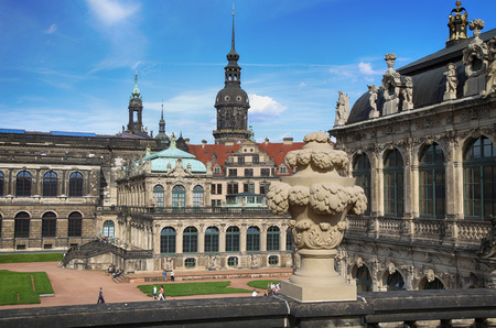rebuilt: DRESDEN, GERMANY – AUGUST 13, 2016: Dresdner Zwinger, rebuilt after the second world war, the palace is now the most visited monument  in Dresden, Germany on August 13, 2016.
