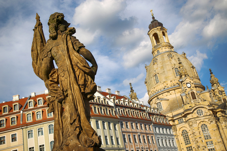 View from Turks fountain (Friedensbrunnen) to Church of Our Lady in Dresden, Germany