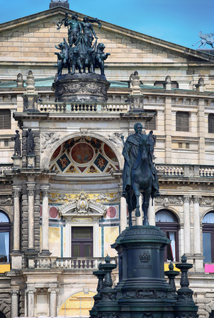 Statue of King Johann and Semperoper opera (Staatskapelle Dresden) at Theaterplatz in Dresden, State of Saxony, Germany