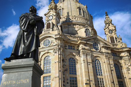 dresden: Frauenkirche (Our Lady church) and statue Martin Luther in the center of old town in Dresden, Germany
